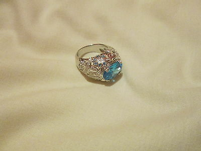 Beautiful New Turquoise Topaz Sterling Silver Ring Size R • 18£