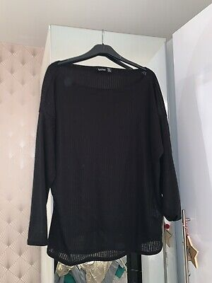 Casual Black Off The Shoulder Longsleeve Top **perfect For Loungewear** Size 18 • 1.10£