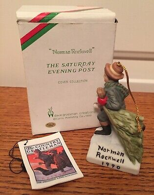 """$ CDN8.92 • Buy Norman Rockwell 1990 Dave Grossman """"BRINGING HOME THE TREE"""" Ornament"""