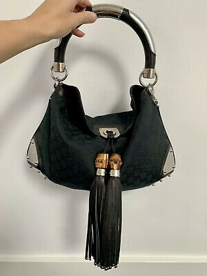 AU590 • Buy GUCCI Black GG Canvas Indy Babouska Bag
