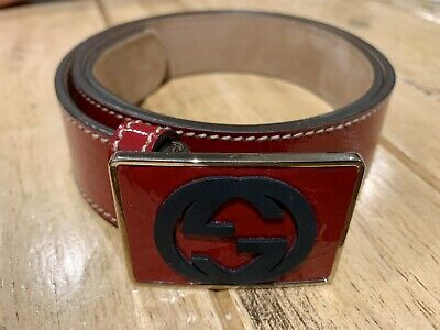 AU280 • Buy Gucci Red Patent Leather GG Plaque Belt 80CM