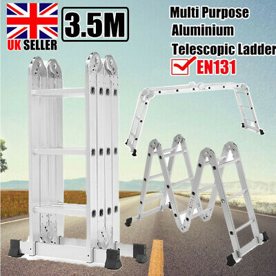 3.5M 14IN1 Heavy Duty Foldable Aluminum Ladder Extendable Step Tool EN131 Home • 78.67£