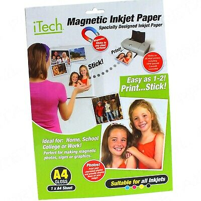 £4.37 • Buy A4 MAGNETIC PHOTO GLOSS PAPER SUITABLE FOR ALL INKJET PRINTERS Fridge Card Gift
