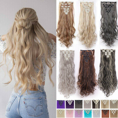 £13.42 • Buy Hair Extensions Clip In Thick Full Head 8 Pieces Long Curly Braids As Human UK