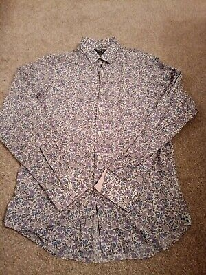 Charles Tyrwhitt Floral Purple Mens Shirt Tailored Fit Size 16 Inch • 1.10£