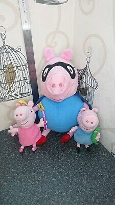 12  Pepa Pig Daddy Pig Super Hero - Soft Toy With Small Ty Peppa Pig And George  • 13.99£