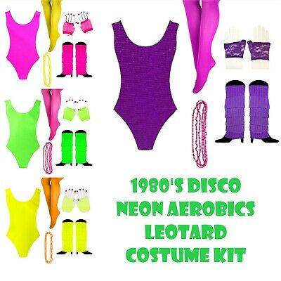 AU39.99 • Buy 1980s Girl Costume Kit 80s Party Dress Up Aerobics Leotard & Accessories Fluro