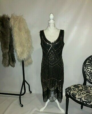Vintage 1920's Gatsby Tassle Black And Gold Beeded Dress  • 5£