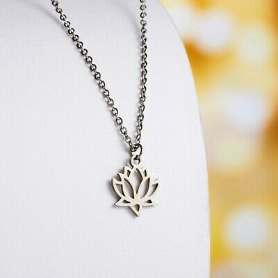 $ CDN1.25 • Buy Silver Color Stainless Steel Flower Lotus Shape Pendant Necklace Yoga Chakra