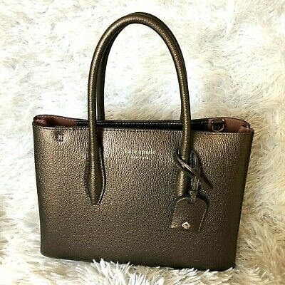 $ CDN101.64 • Buy New Kate Spade Small Top Zip Satchel Eva Ash Metallic Leather Crossbody Hand Bag