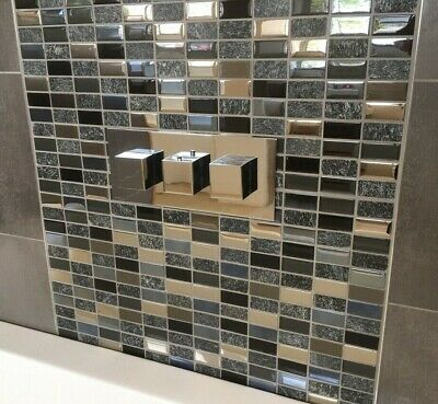 £1.50 • Buy CUT SAMPLE Manza Real Stone Glass Black Beige Grey Feature Mosaic / Border Tile