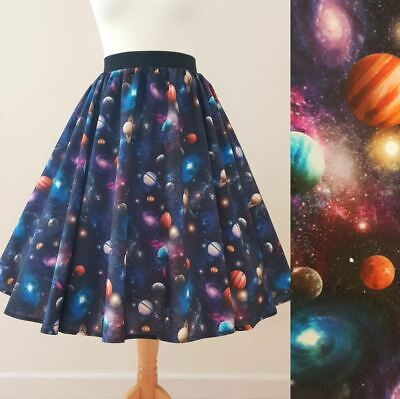 £30.99 • Buy 1950s Circle Skirt Solar System - Sizes 8-20 Space Planets Galaxy Print Science