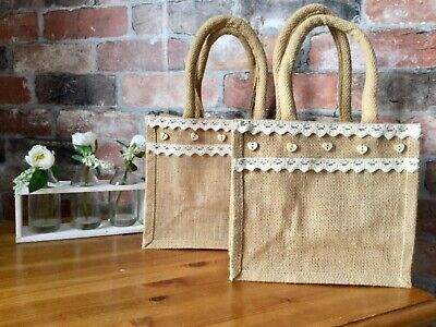 £6.99 • Buy Handcrafted Jute Bag Small Fashionable Hessian Luxury Natural Eco Reusable