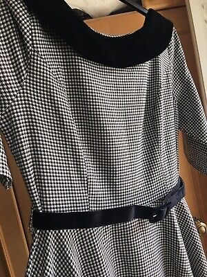 Hell Bunny Black & White Houndstooth Check Vintage Style Dress Size 16/18 • 7.50£