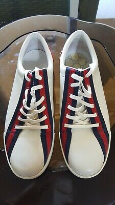 AU126.29 • Buy Gucci Boulevard White Leather Red / Blue Classic Logo Stripe Sneakers Shoes 10 D