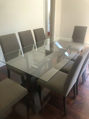 AU500 • Buy Nick Scali Glass Top Dining Table + 8 Chairs