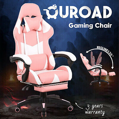 AU149.90 • Buy Gaming Chair W/ Footrest Computer Executive Office Racer Recliner Seating Pink