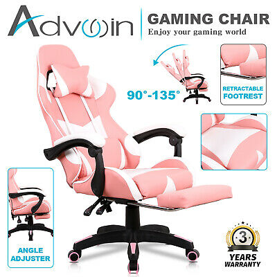 AU149.90 • Buy Executive Gaming Chair Office Computer Racer Recliner Chairs W/Footrest Pink