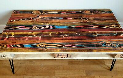 Upcycled Retro Reclaimed Pallet Coffee Table With Industrial Hairpin Legs • 170£