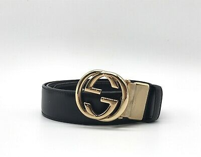 AU375 • Buy GUCCI Belt Reversible GG Logo Gold Buckle Leather Black Brown 3867k