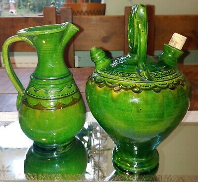 Huos Almarza Ubeda Spanish Folk Art Pottery Gargoulette And Jug, Wine Water... • 35£