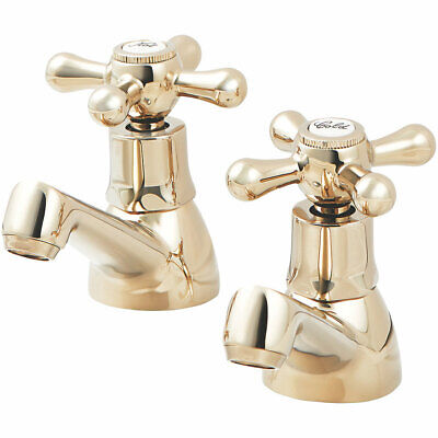 £39.99 • Buy Keiss Basin Pillar Taps -  ¼ Turn - Gold - Suitable For High & Low Pr/Systems