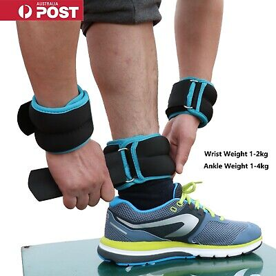 AU27.95 • Buy 2x Wrist Ankle Weights 1/2/3/4KG Pair Adjustable Strap Fitness Gym Yoga Training