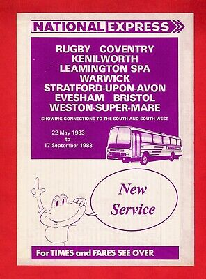 £3.95 • Buy National Express Coach Timetable ~ 732 Rugby To Weston Super Mare - 1983