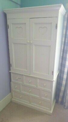 Aspace Armoire White Wooden Wardrobe 9 Drawers - Good Condition & Free Cabinet • 250£