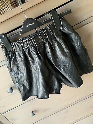 Topshop Boutique Real Leather Black Shorts With Elasticated Waist & Side Pockets • 30£