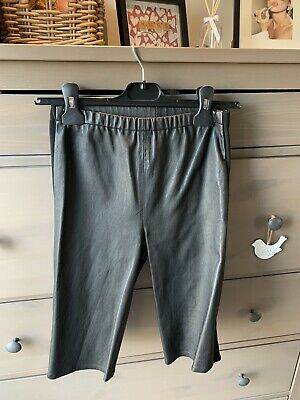 Topshop Boutique Real Leather Black Cycling Shorts Uk 8 With Elasticated Sides • 40£