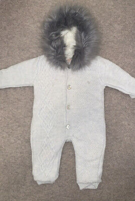 CARAMELO KIDS Baby Grey Knitted Pram Suit With Faux Fur Hood 9-12 Months • 20£