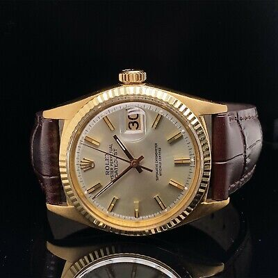 $ CDN11354.38 • Buy Rolex Datejust 1601 18K Yellow Gold Pie Pan Dial Brown Leather Strap