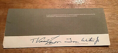 1970 IBM Autograph TOM WATSON JR USSR Ambassador T Vincent Learson Punch Card • 35.05£
