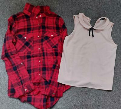 Gorgeous Girls, Checked Shirt And Sleeveless Blouse 12-13 Years • 3.99£