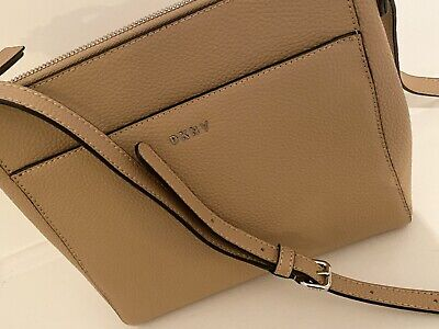 DKNY Tan Leather Cross Body Bag, Adjustable Strap, New • 53£