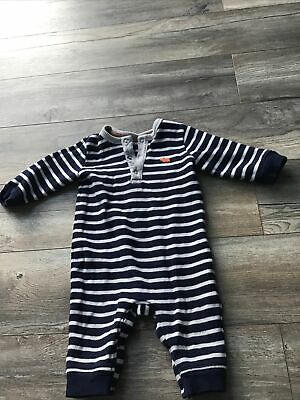 Baby Boy Blue Grey Striped Rhinoceros Print Knitted Romper Suit 9-12 Months • 0.99£