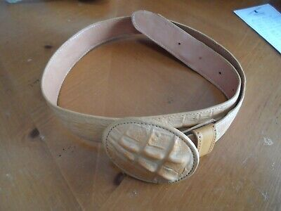 $14.95 • Buy Men Cowboy Belt Imitation Caiman Size 38 Color Butter, Made In Mexico