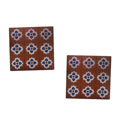 £5.95 • Buy Lots 2 1:12 Scale Miniature Wine Red Floor Tiles Dolls House Ornament Wooden