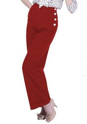 House Of Foxy 40s Retro Style Red Swing Trousers - Size 16 • 60£