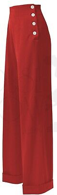 House Of Foxy 40s Retro Style Red Swing Trousers - Size 18 • 60£