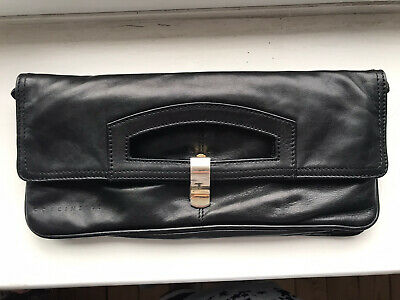 COCCINELLE Black Leather Pouch Fold Over Clutch Bag • 9£