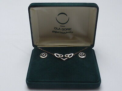 Vintage Ola Gorie Sterling Silver Kells Necklet Pendant & Round Stud Earrings • 55£