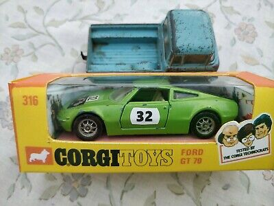 Corgi Toys 1970's Whizzwheels Ford GT 70 No: 316, Boxed,  & Truck Good Condition • 4.99£