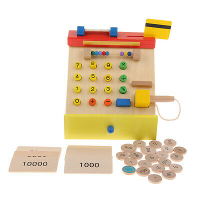 Wooden Toy Cash Register With Scanner For Kids - Cashier Role Pretend Play • 33.19£