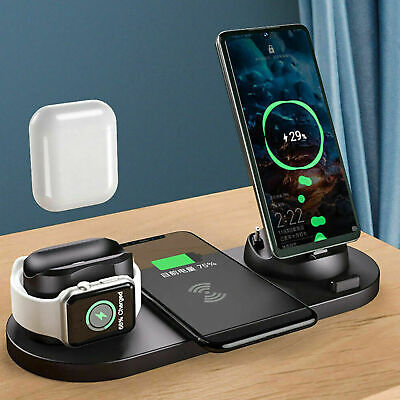 AU26.97 • Buy 6 In1 Wireless Charger Dock Pad For Apple Watch AirPod IPhone 12 11 8 Pro XS Max
