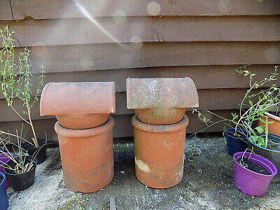 Pair Of Terracotta Chimney Pots With Bonnets/cowls • 54.99£