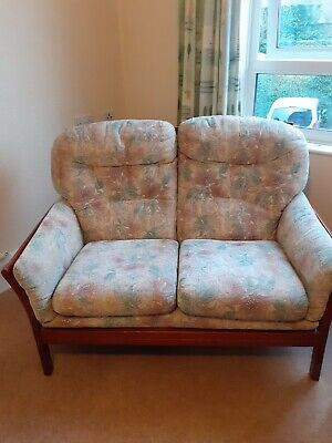 Wooden Framed 3 Piece Suite. Ercol Style 2 Seat Sofa & 2 Arm Chairs  • 33£