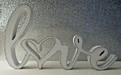 Diamante Decorated Wooden 'Love' Free-Standing Sign Ornament New • 9.99£