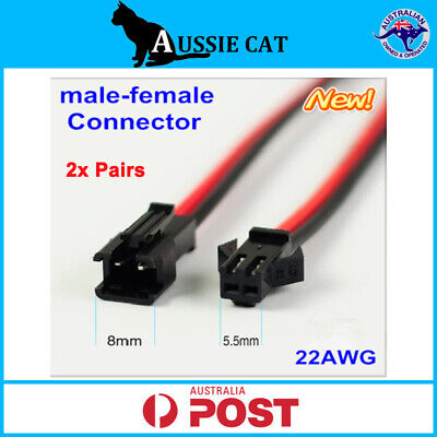 AU4.95 • Buy 2 Pair Genuine 15cm JST 2.5 SM 2-Pin Connector Plug Female&Male With Wires Cable